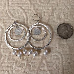 Silpada Sterling and Pearls Earrings NWOT